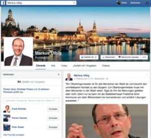 Die frisch gestartete Facebook-Fanpage von Markus Ulbig.