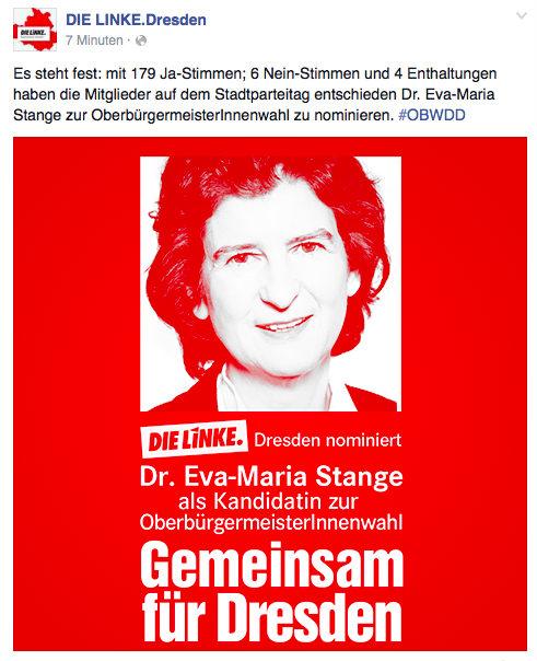 Screenshot von der Facebook-Seite der Linken Dresden. Das Foto ist zur Quelle verlinkt.