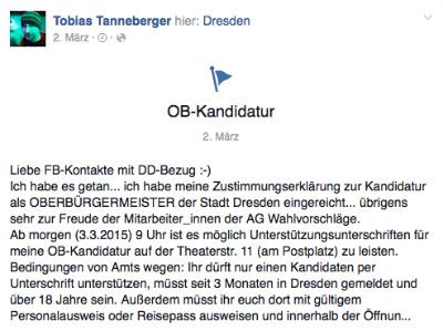 Screenshot von Tobias Tannebergers Facebook-Profil.
