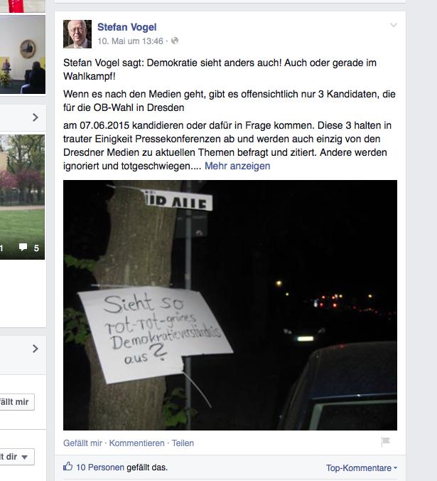 Screenshot von der Facebookseite von Stefan Vogel